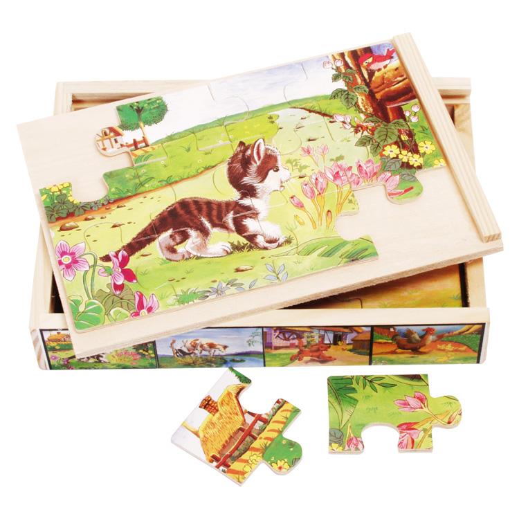 4 db 12 db-os puzzle dobozban (cicás)