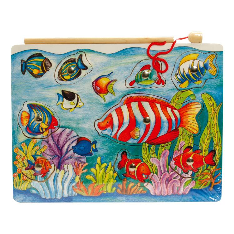 Mágneses horgász-puzzle (halas)
