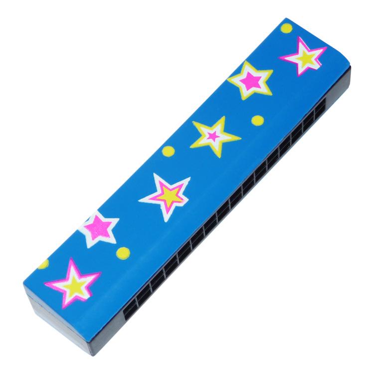 Szájharmonika (kék, csillagos)