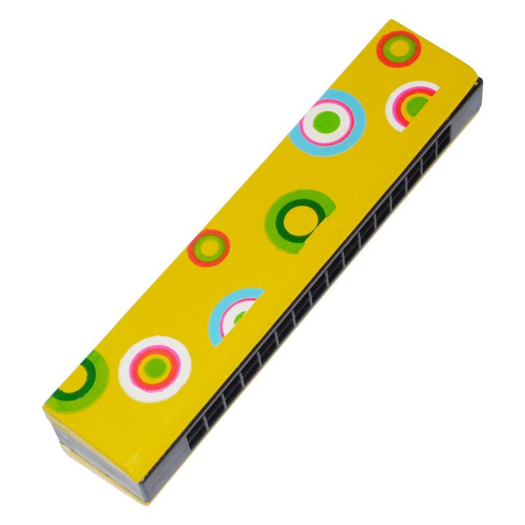 Szájharmonika (sárga, karikás)
