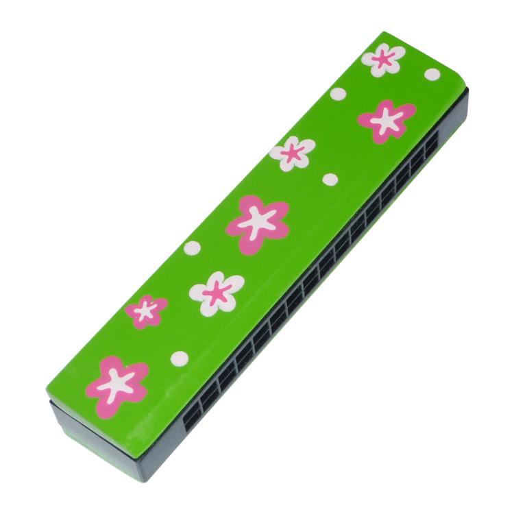 Szájharmonika (zöld, virágos)