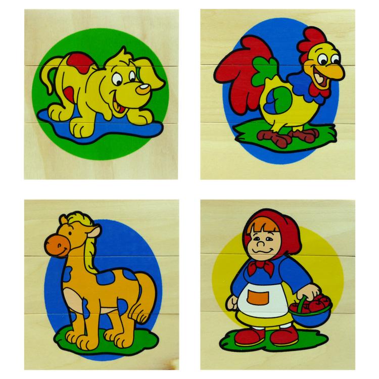 3 részes kirakó (kutya, kakas, ló, kislány)