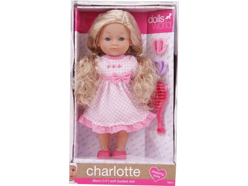 Charlotte fésülhetõ puha baba kiegészítõkkel - 36 cm