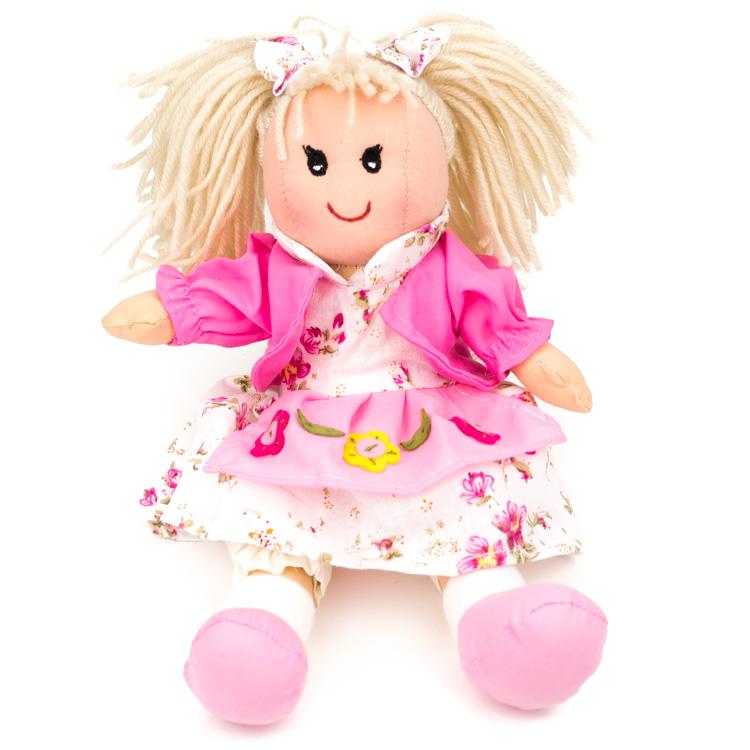 Rongybaba (lány, rózsaszín, virágos, 25 cm)