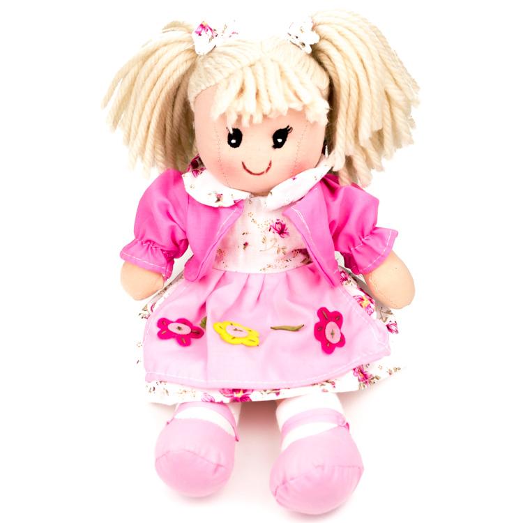 Rongybaba (lány, rózsaszín, virágos, 30 cm)