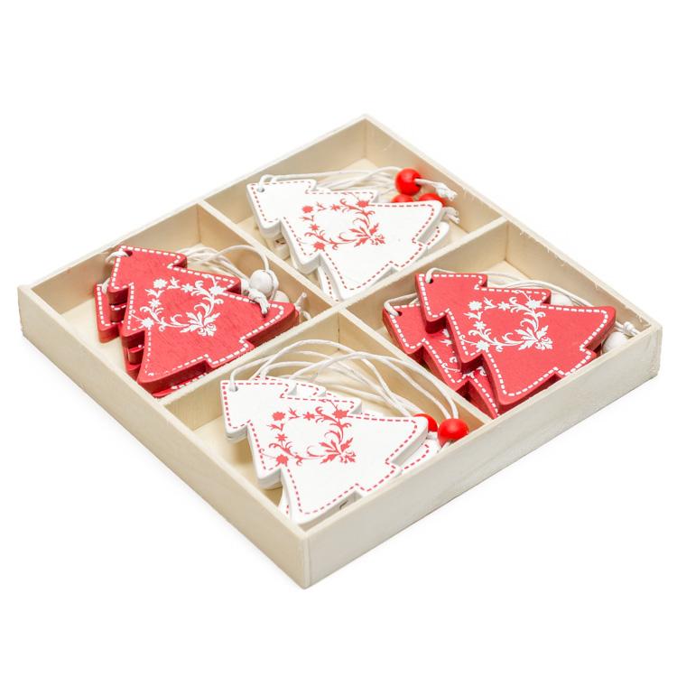 Karácsonyfadísz (12 db-os, fehér és piros fenyõ)
