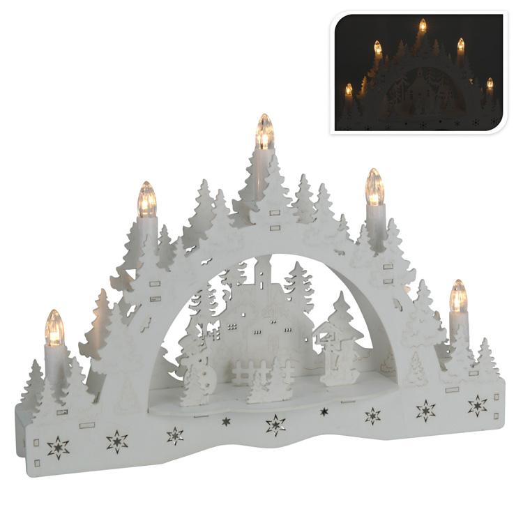 Világító asztaldísz (fehér, 5 égõs, hóember gyerekkel)