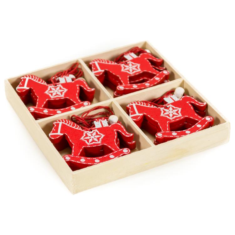 Karácsonyfadísz (12 db-os, piros hintaló)