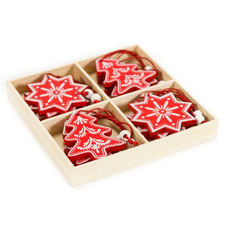 Karácsonyfadísz (12 db-os, piros fenyõ és hópehely)
