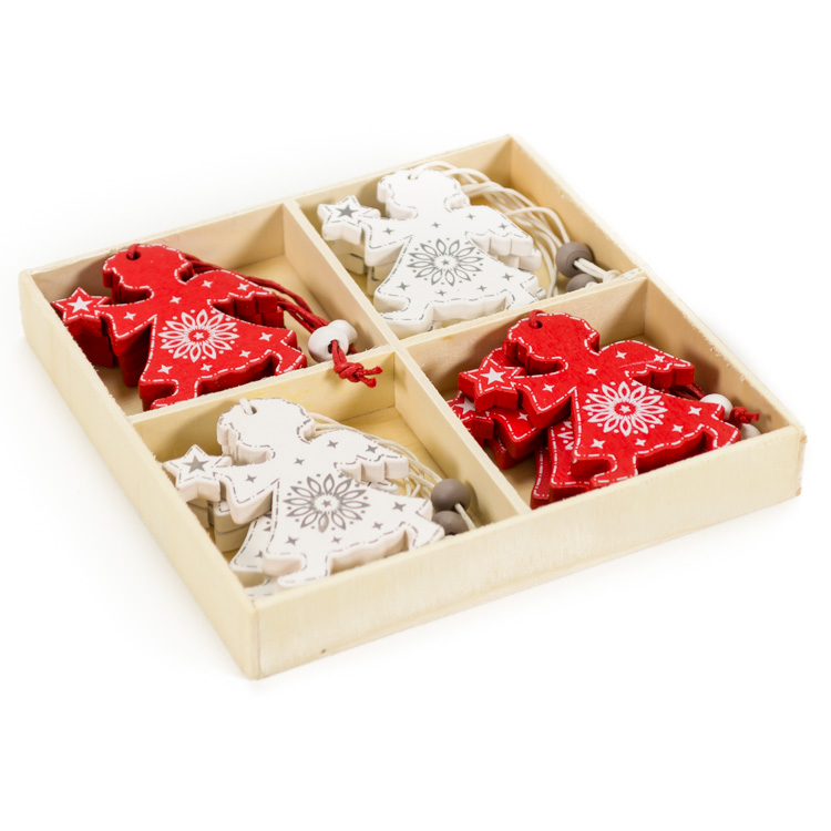Karácsonyfadísz (12 db-os, fehér és piros angyal)
