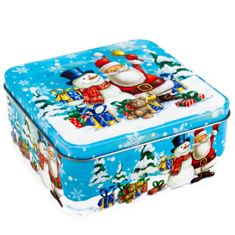 Karácsonyi fém díszdoboz (kék, hóember + mikulás)