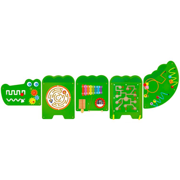 Összetett készségfejlesztõ játék (falra szerelhetõ, krokodil)