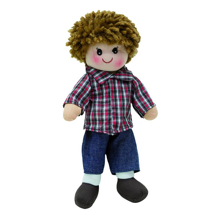 Rongybaba 30 cm (Tomi, fiú, barna, kockás, farmeros)
