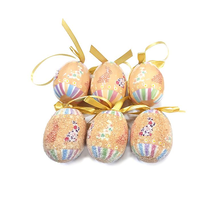 Húsvéti tojás (6db-os, bézs, virágos nyuszis)