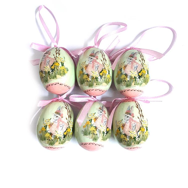 Húsvéti tojás (6db-os, világos zöld, virágkertes)