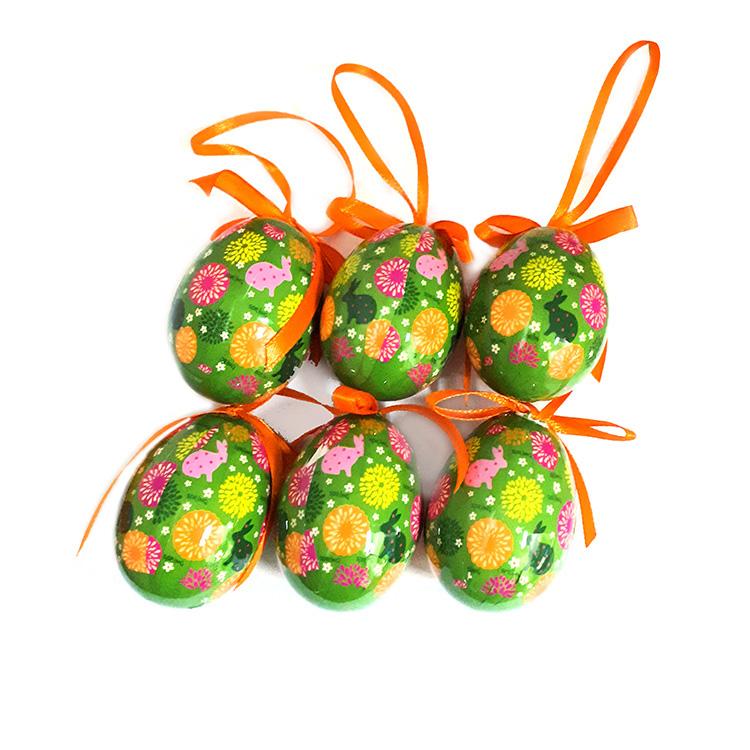 Húsvéti tojás (6db-os, sötét zöld, virág mintás)