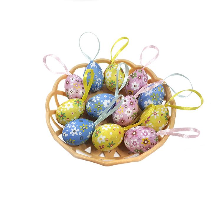 Húsvéti tojás kosárban (12 db-os, virág mintás)