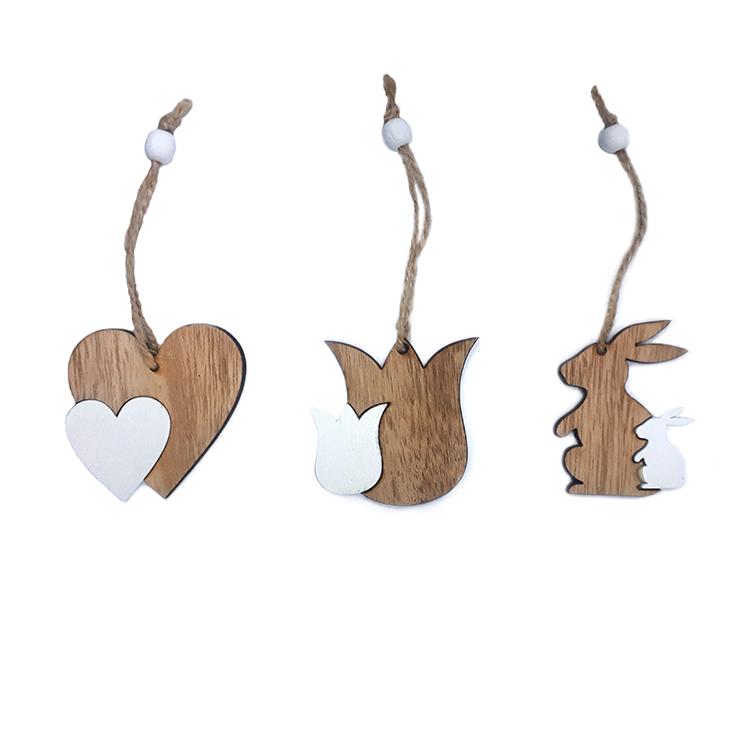 Húsvéti dekorációs figura (szív, tulipán, nyuszi, 9db-os, natúr-fehér)