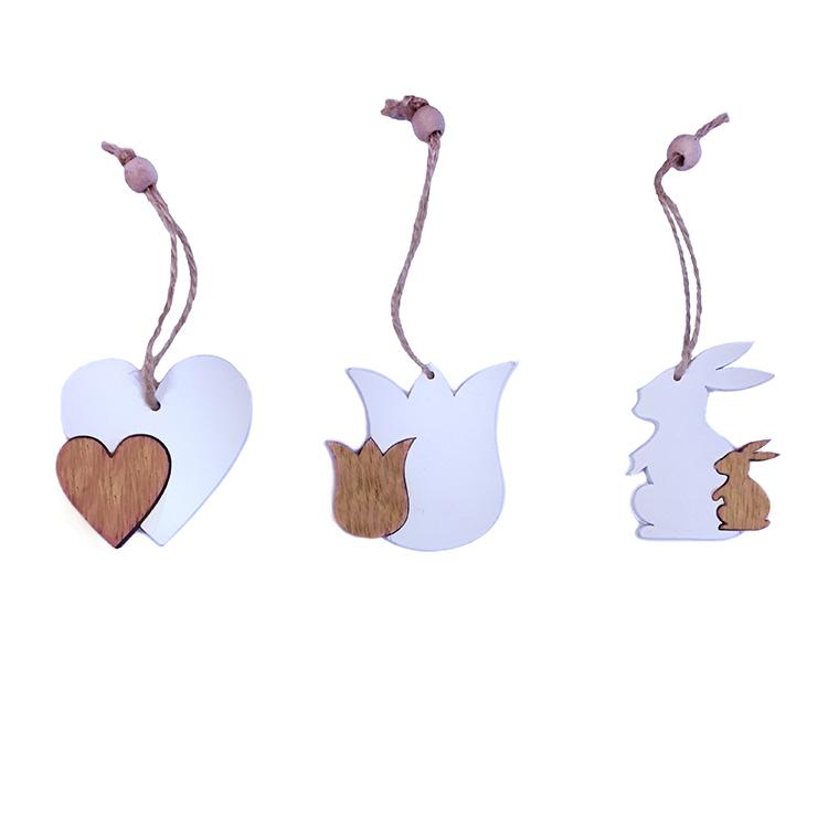 Húsvéti dekorációs figura (szív, tulipán, nyuszi, 9db-os, fehér-natúr)