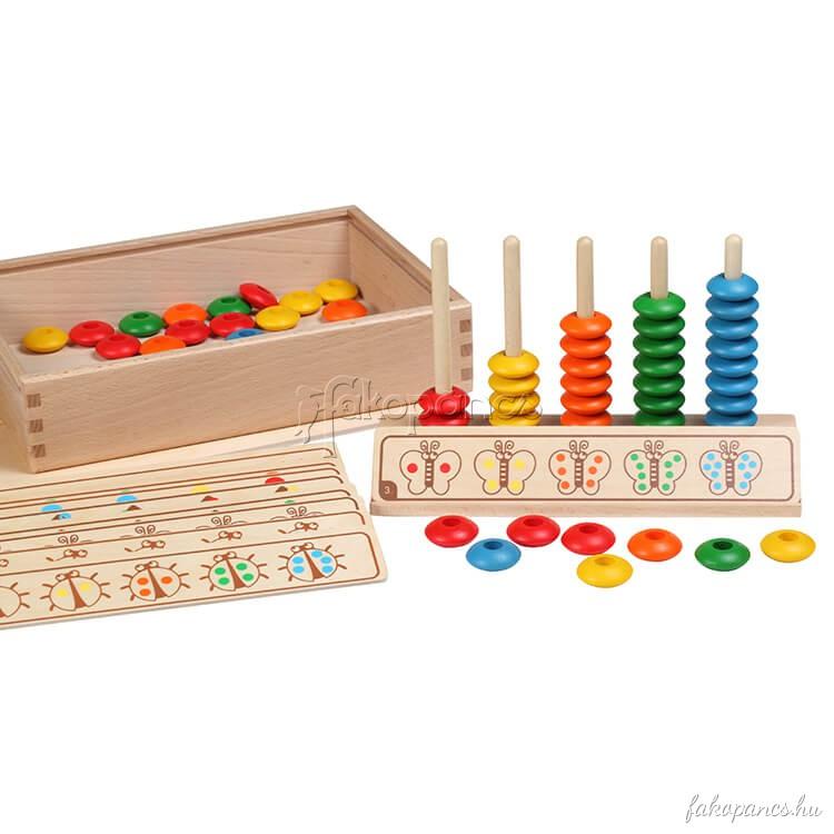 Számoló játék fadobozban feladatlapokkal
