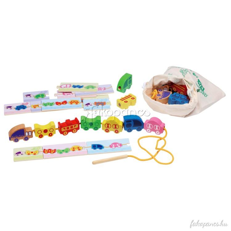 Vonat fûzõcske játék feladatlapokkal, zsákban