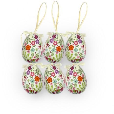 Húsvéti tojás(6 db-os, fehér alapon, virágmintás)