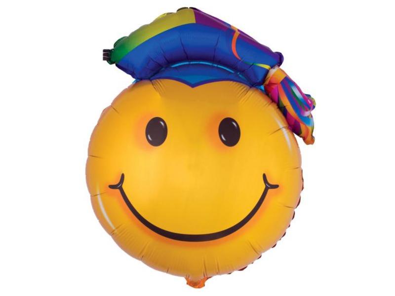 Ballagási Smiley fólia lufi - 89 cm