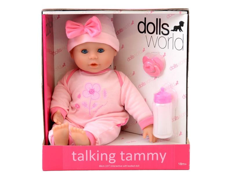 Beszélõ és alvó puha baba - rózsaszín ruhában, 38 cm